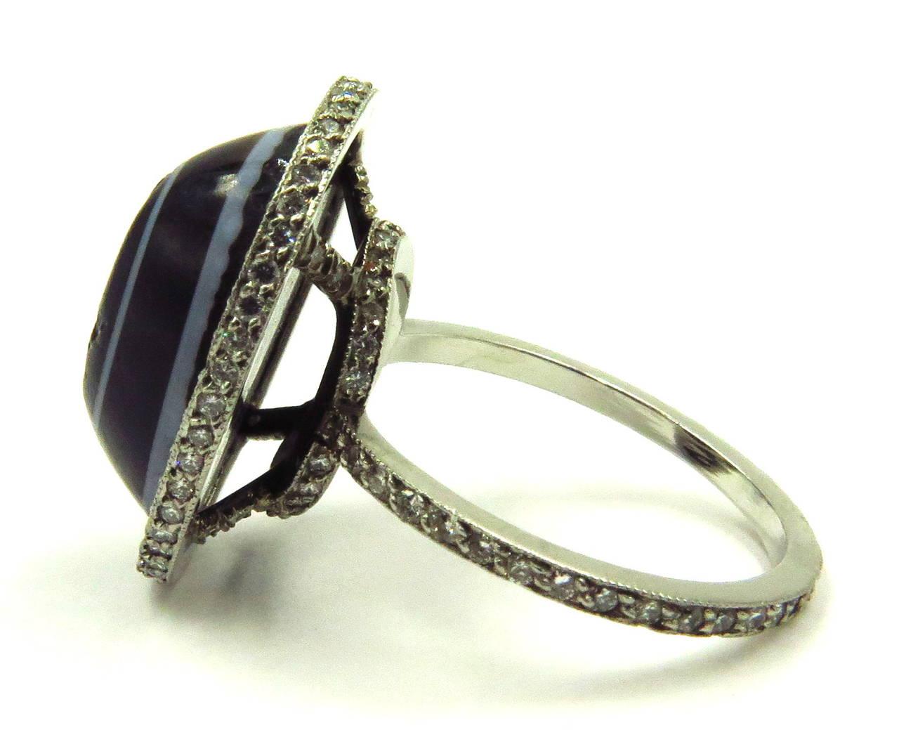 Carved Banded Agate Diamond Platinum Angel Cherub Signet Ring 5
