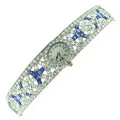 Patek Philippe Platinum Diamond Sapphire Bracelet Wristwatch