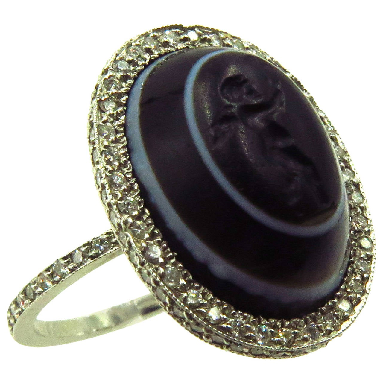 Carved Banded Agate Diamond Platinum Angel Cherub Signet Ring 1