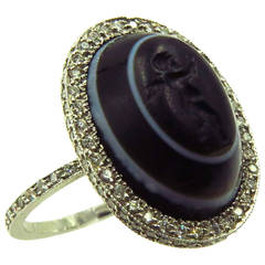 Carved Banded Agate Diamond Platinum Angel Cherub Signet Ring