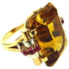 1940s Retro Large Citrine Ruby Gold Platinum Ring
