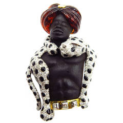 Magnificent Large Blackamoor with Movable Draping Enamel Diamond Leopard Pin