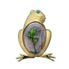 Sandrajean Wainwright Reverse Painted Rock Crystal Tourmaline Gold Frog Pin