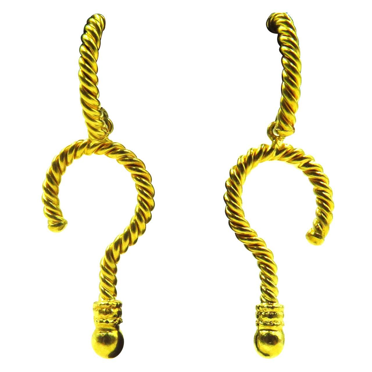 Rebecca Koven Gold Question Mark Drop Post Earrings