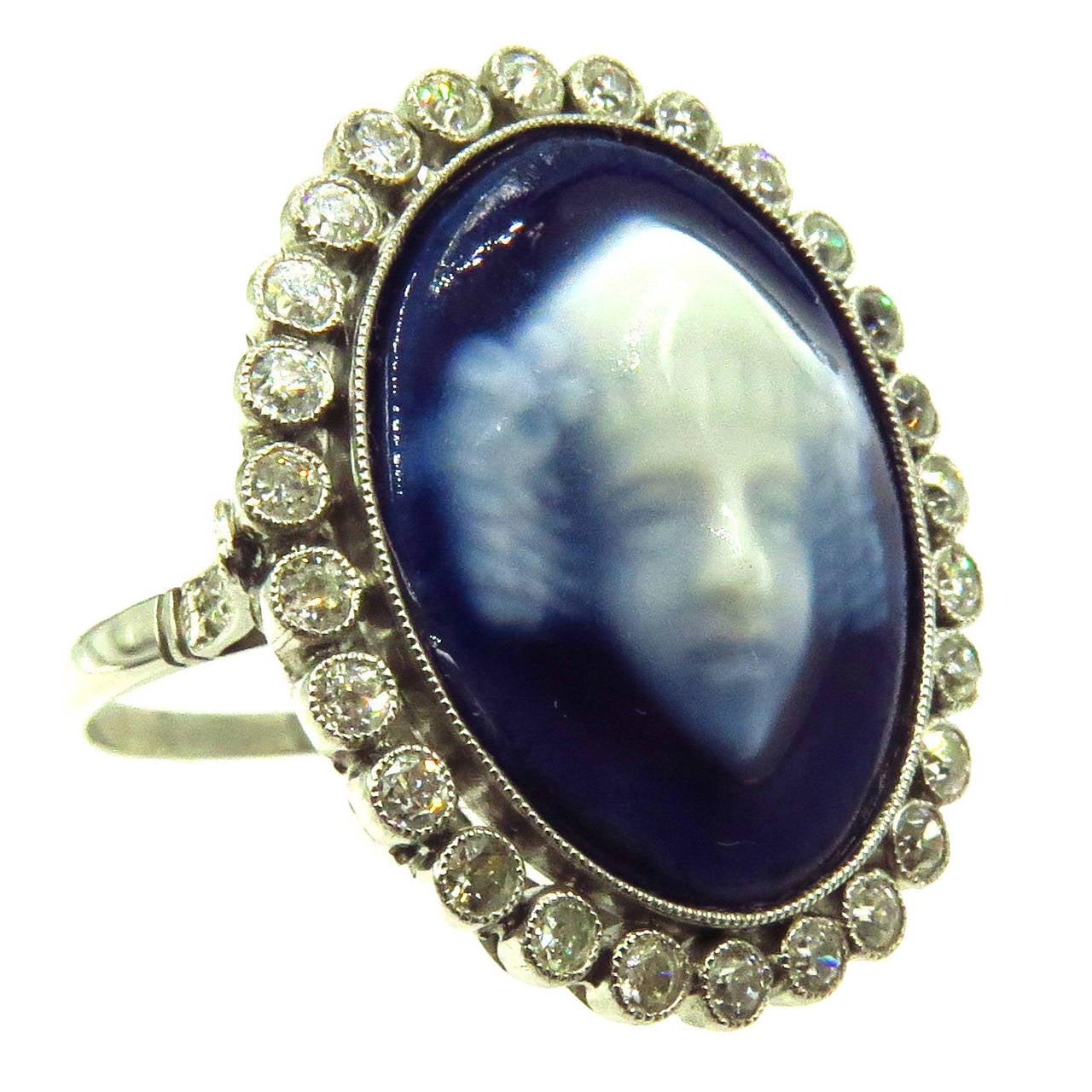 Limoges France Diamond Platinum Face Ring at 1stdibs