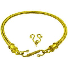 Heavy Alchemy Thick Woven Gold Chain Necklace With Extender
