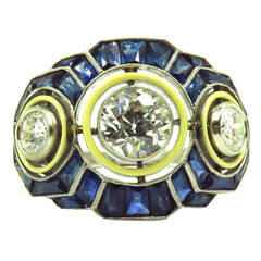 Timeless Enamel Sapphire Diamond Platinum Three-Stone Ring
