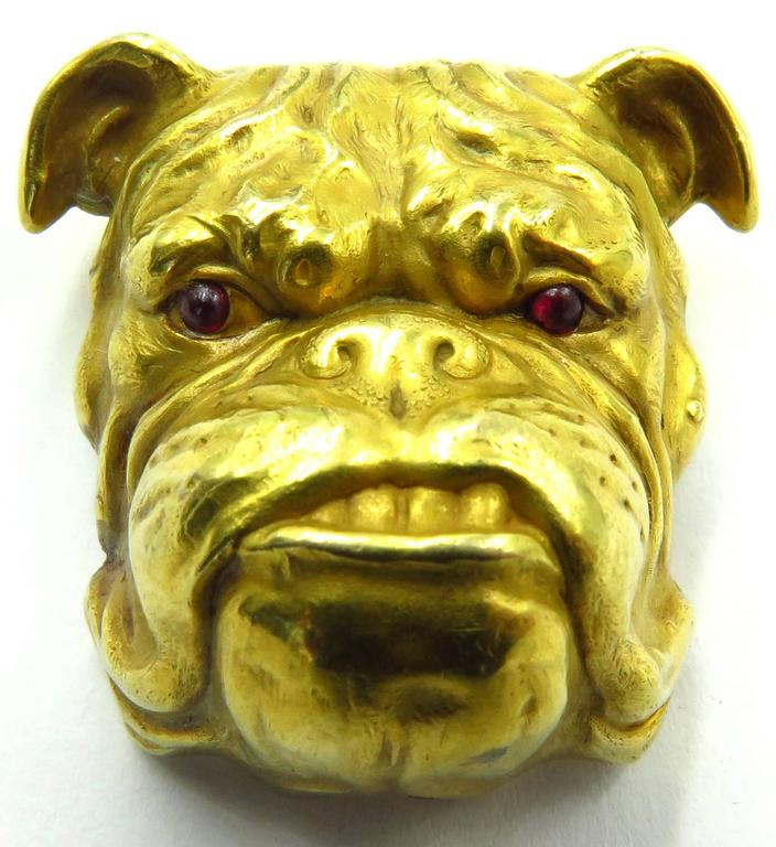 Fantastic Victorian Detailed Gold Bulldog Pin With Cabochon Cut Ruby Eyes 3