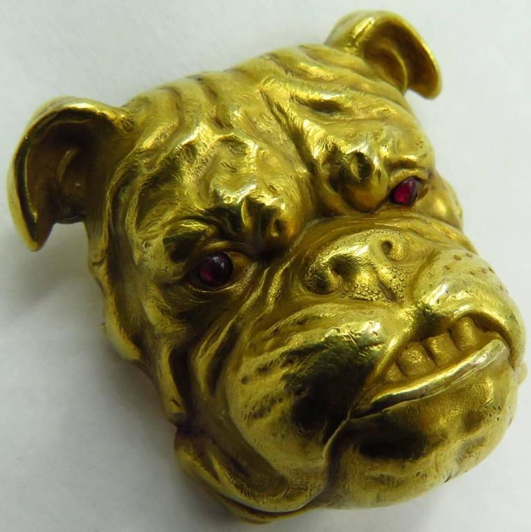 Fantastic Victorian Detailed Gold Bulldog Pin With Cabochon Cut Ruby Eyes 5