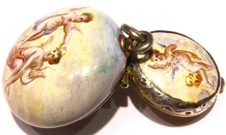 Romantic Porcelain Enamel Silver Miniature Dog Running with Angel Vinaigrette For Sale 3