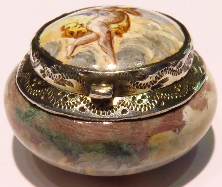 Romantic Porcelain Enamel Silver Miniature Dog Running with Angel Vinaigrette For Sale 6
