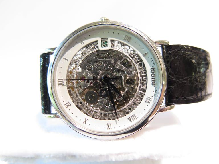 Gucci Platinum White Enamel Border Skeleton Wristwatch At