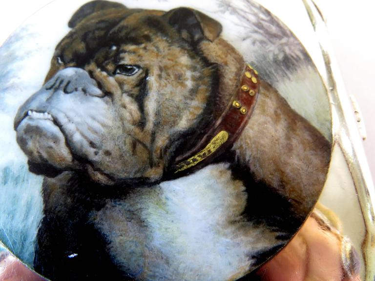 This wonderfully enameled bulldog box was originally a cigarette box, but it can be used for anything such as pill box, card case, Altoids container, etc.  It is made of 935 silver (high grade sterling silver) There are hallmarks on box, but they