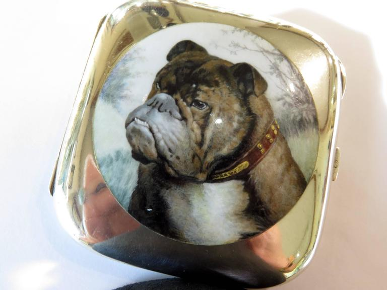 Edwardian English Bulldog Enameled Silver Case For Sale