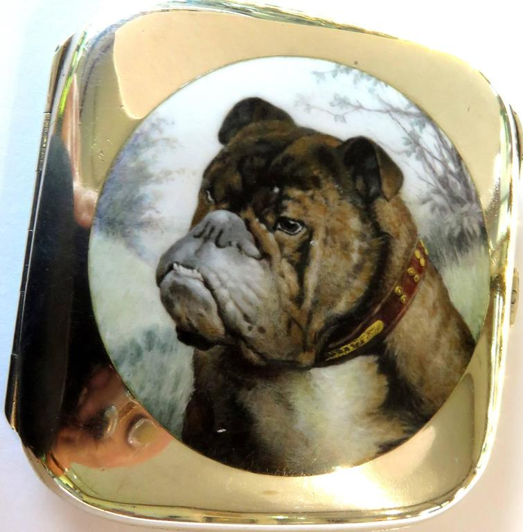 English Bulldog Enameled Silver Case In Excellent Condition For Sale In Palm Beach, FL