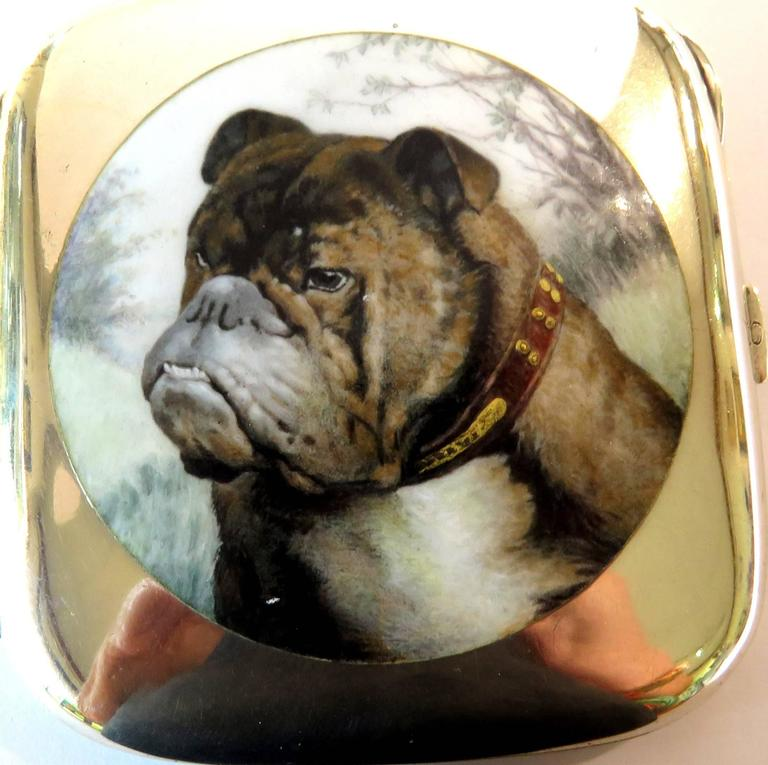 English Bulldog Enameled Silver Case For Sale 4