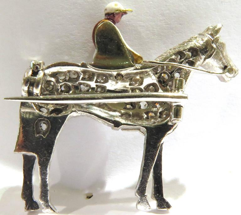 Diamond Enamel Horse and Rider Platinum Art Deco Equestrian Pin For Sale 1