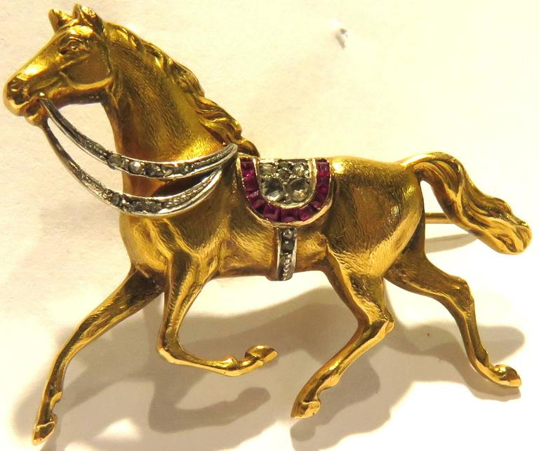 Exceptional Early Art Deco Horse Gold and Platinum Full Figured ...