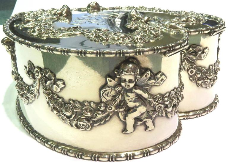 Antique Howard & Co. Large Sterling Heart with Cherubs Jewelry Box 2