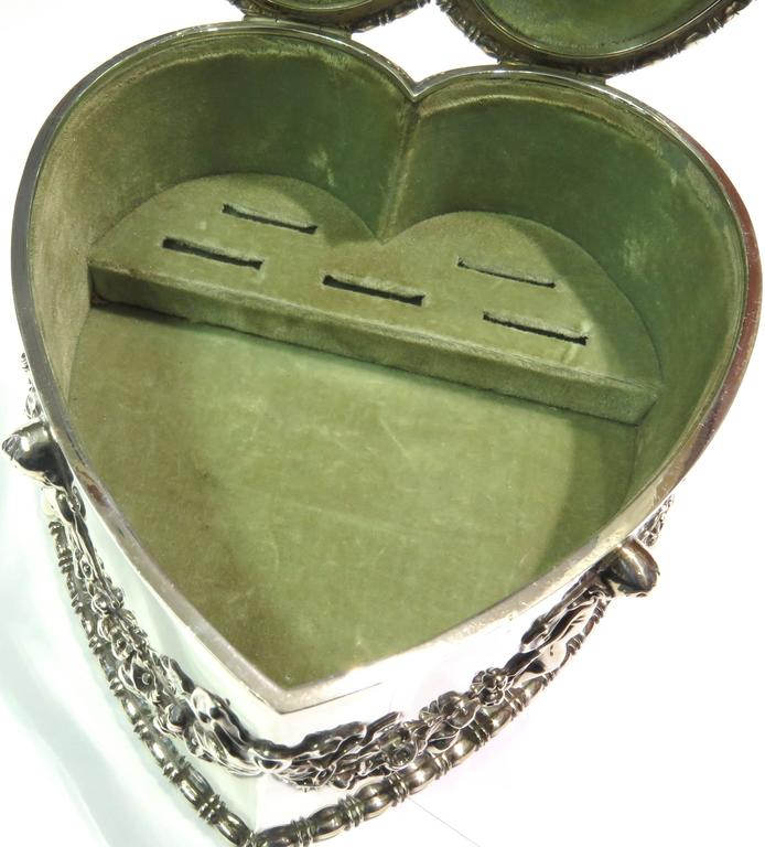 Women's or Men's Antique Howard & Co. Large Sterling Heart with Cherubs Jewelry Box For Sale