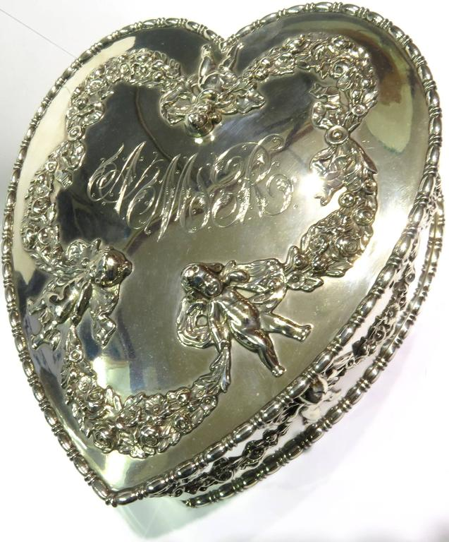 Antique Howard & Co. Large Sterling Heart with Cherubs Jewelry Box 8