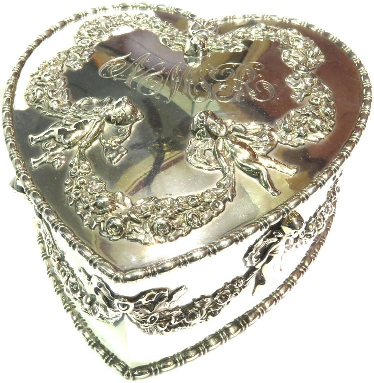 Antique Howard & Co. Large Sterling Heart with Cherubs Jewelry Box 9