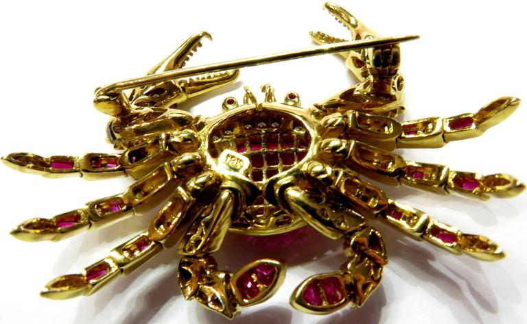 Movable Invisibly Set Ruby Diamond Gold Crab Pin Pendant For Sale 2