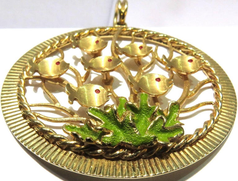 Dankner Large Multi Fish in Reef Enamel Charm Pendant In Excellent Condition For Sale In Palm Beach, FL