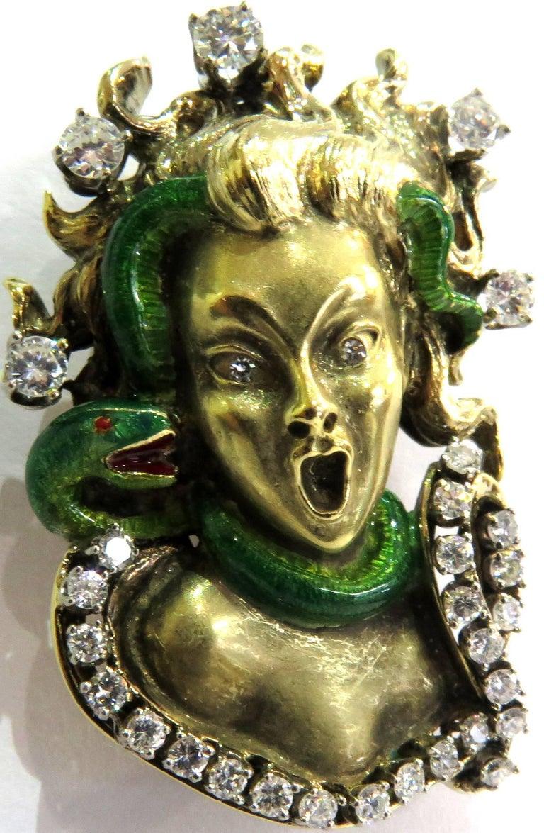 Dramatic Mario Boschi Gold Medusa Diamond Enamel Snake Pin 2