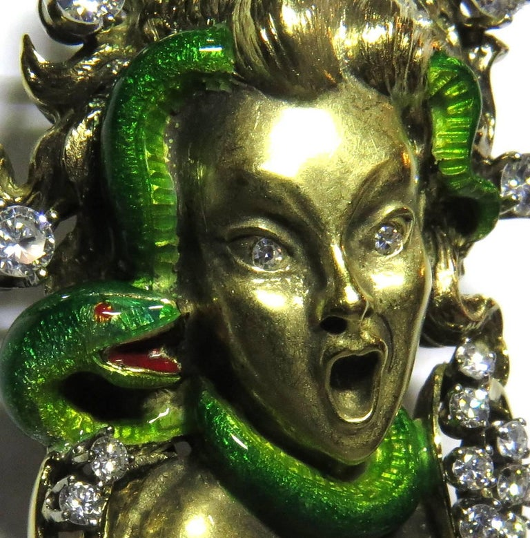 Dramatic Mario Boschi Gold Medusa Diamond Enamel Snake Pin In Excellent Condition For Sale In Palm Beach, FL