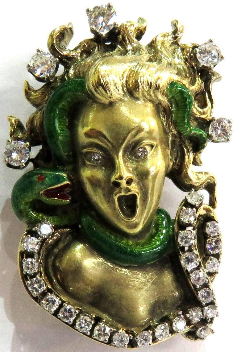 Women's or Men's Dramatic Mario Boschi Gold Medusa Diamond Enamel Snake Pin For Sale