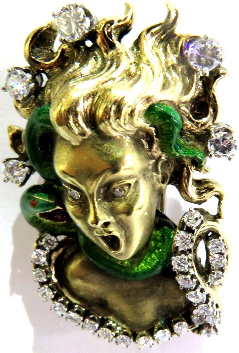 Dramatic Mario Boschi Gold Medusa Diamond Enamel Snake Pin For Sale 1