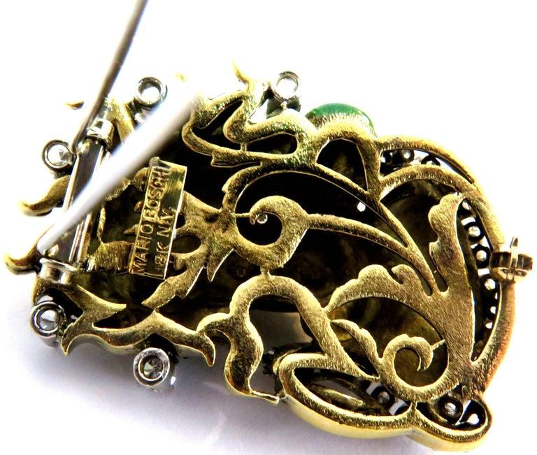 Dramatic Mario Boschi Gold Medusa Diamond Enamel Snake Pin For Sale 2