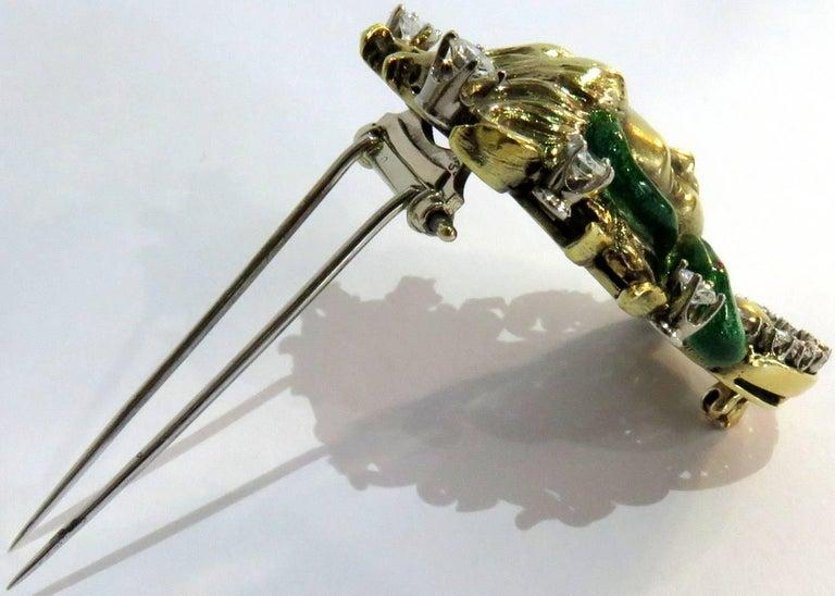 Dramatic Mario Boschi Gold Medusa Diamond Enamel Snake Pin For Sale 3