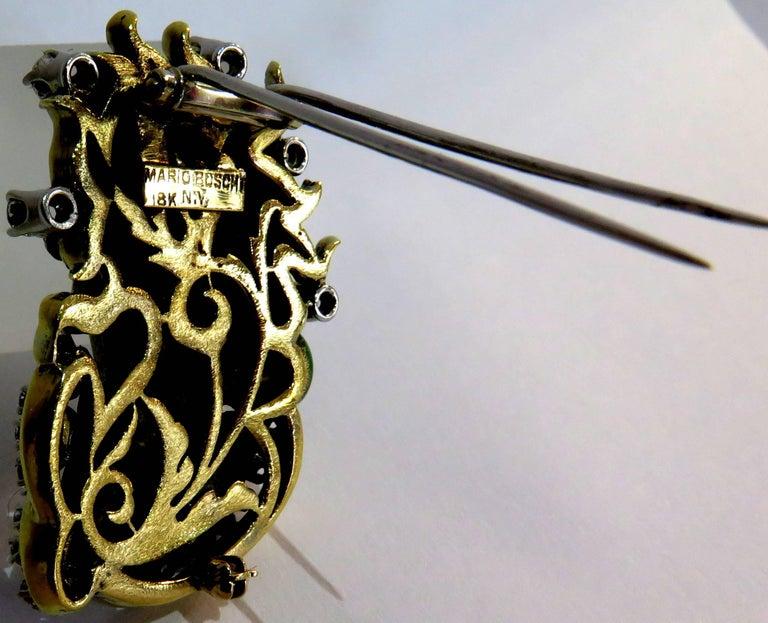 Dramatic Mario Boschi Gold Medusa Diamond Enamel Snake Pin For Sale 4