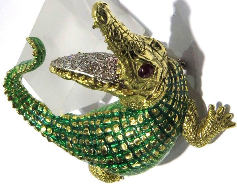 Women's or Men's Incredibly Detailed Diamond Ruby Enamel Gold Alligator Pin For Sale