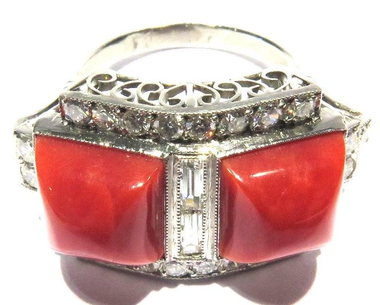 Superb Diamond Coral Platinum Ring 2