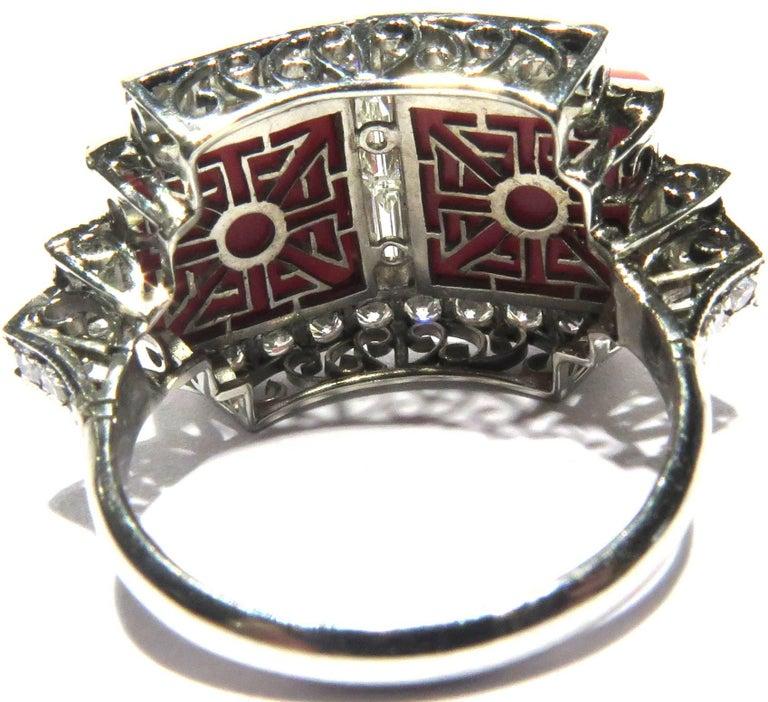 Superb Diamond Coral Platinum Ring 4