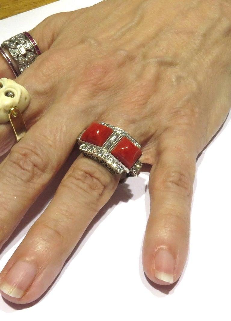 Superb Diamond Coral Platinum Ring 5