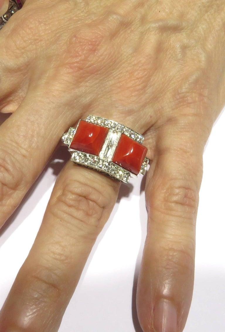 Superb Diamond Coral Platinum Ring 6