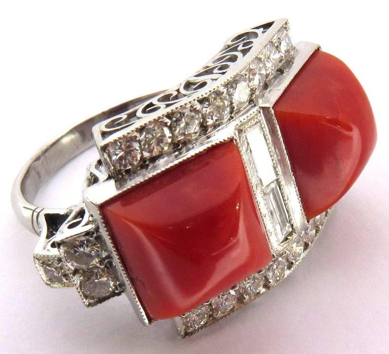 Superb Diamond Coral Platinum Ring 7