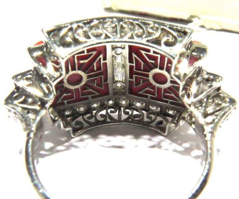 Superb Diamond Coral Platinum Ring 8