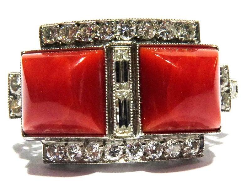 Superb Diamond Coral Platinum Ring 9
