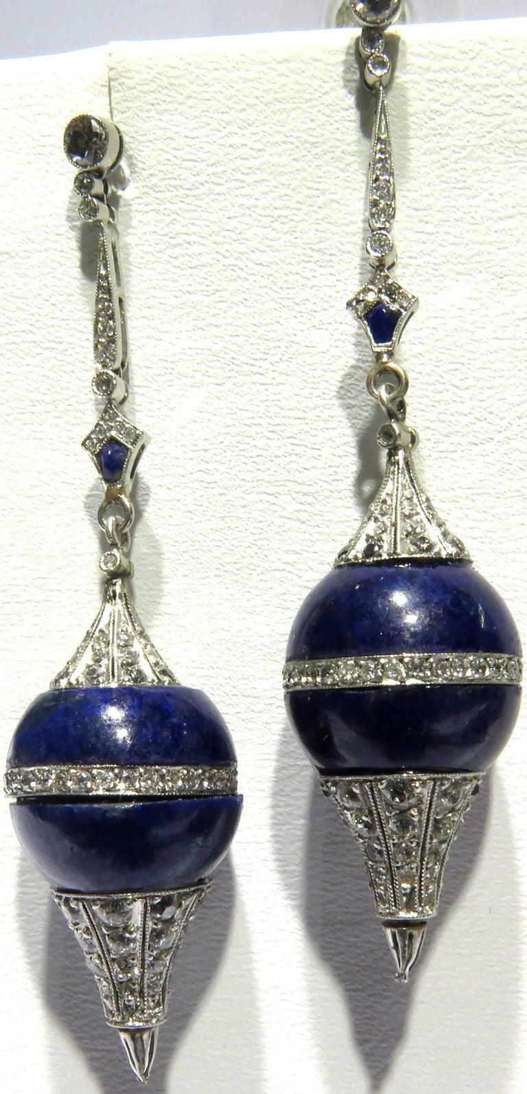 Diamond Lapis Platinum Pendulum Design Post Drop Earrings 2