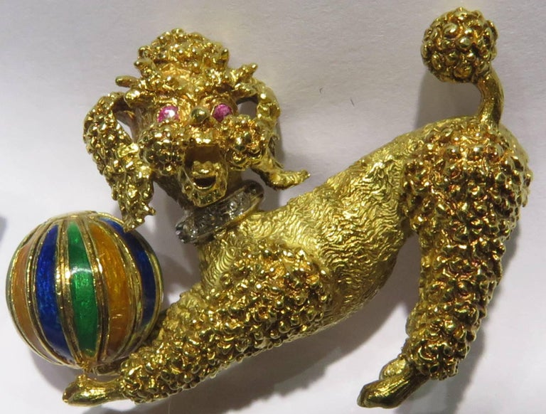 Playful Poodle Dog with Enamel Ball, Ruby Eyes and Diamond Collar Gold Pin 2