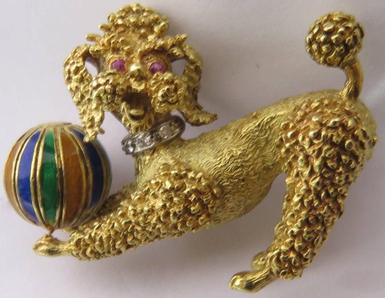 Playful Poodle Dog with Enamel Ball, Ruby Eyes and Diamond Collar Gold Pin 7