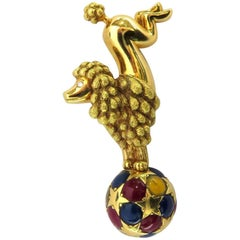 Chaumet Paris Circus Poodle With Attitude Gold Sapphire Ruby Diamond Brooch Pin