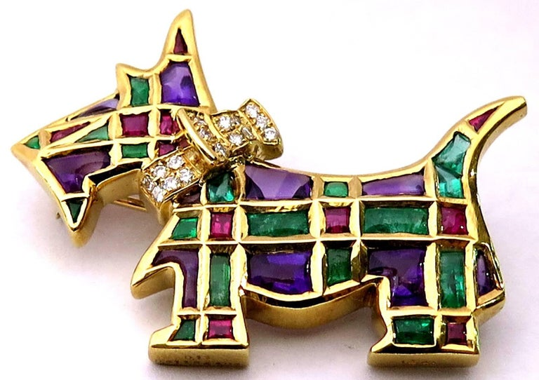 Timeless Scottie Dog Diamond and Gemstone Gold Pin Looking For Forever Home In Excellent Condition For Sale In Palm Beach, FL