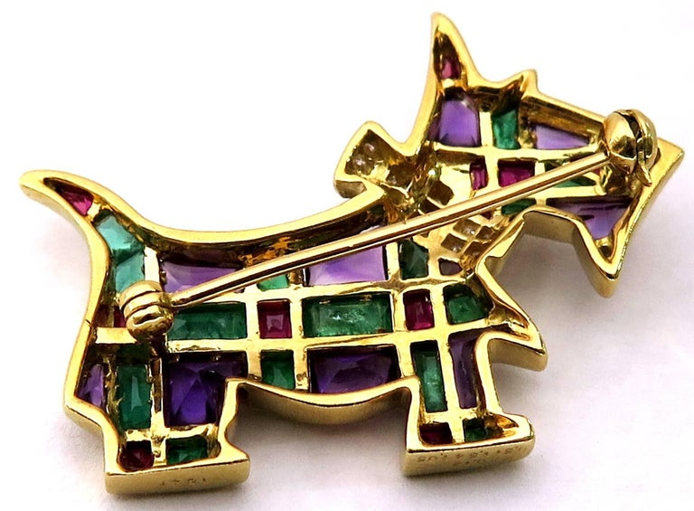 Women's or Men's Timeless Scottie Dog Diamond and Gemstone Gold Pin Looking For Forever Home For Sale