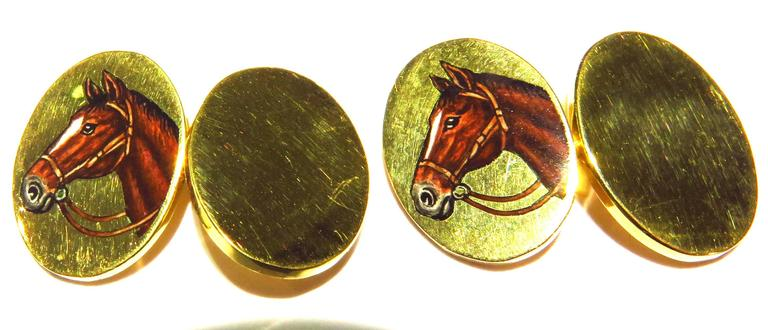 Deakin & Francis Superbly Enameled 18 Karat Horse Head Double Sided Cufflinks For Sale 3
